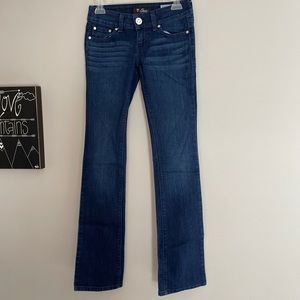 GUESS low rise straight leg dark wash jeans
